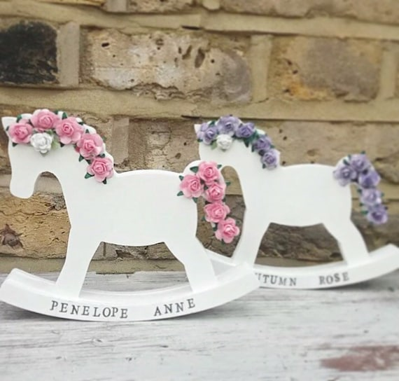 Floral rocking horse | Decorative rocking horse | Rocking horse | Baby shower | Christening gift | Nursery decor | New baby gifts.
