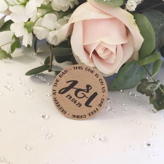 Free drink wedding tokens | Custom wedding drink tickets | Personalised drink tickets | Set of 20 | Wedding tags | Drink tickets