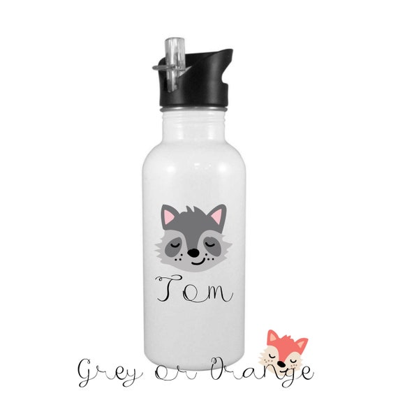Personalised Water bottle with integrated straw top | Aluminium 600ml | Fox water bottle