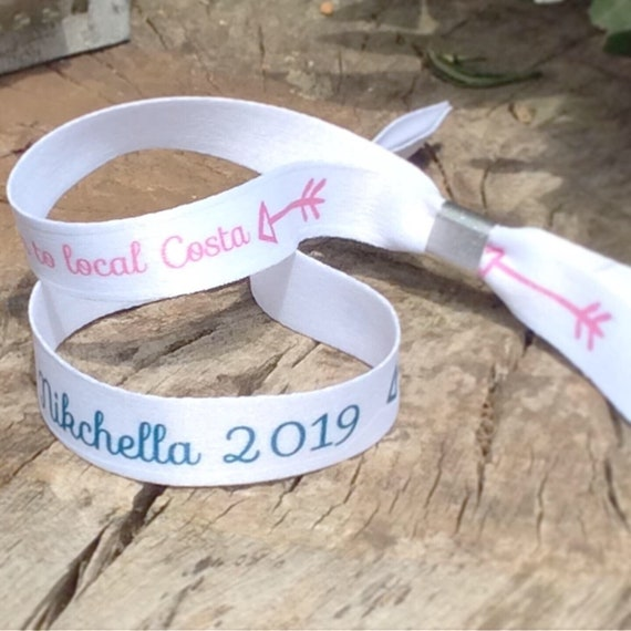 Personalised wristbands | Add any text | Wedding wristbands | Festival wristbands | Hen party wristband | Save the date | Hen favour