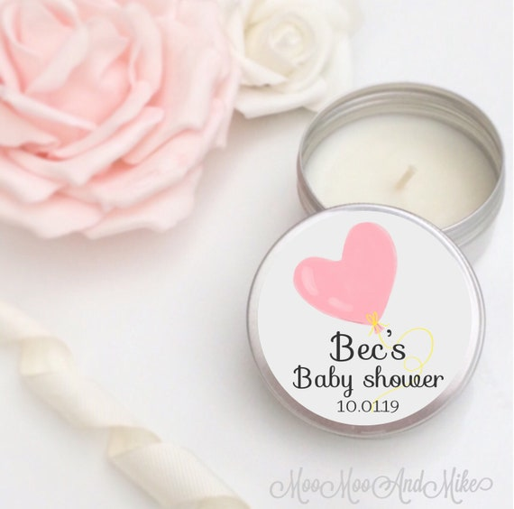 Set of 10 personalised candle Favours - Soy Favour Candles Personalised Baby shower Favour. Tin 50ml come with organza bag's