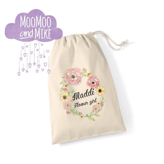 Floral gift bag | Drawstring bag | Floral design | Keepsake bag | Children's bag | Wedding gift bags | Birthday sack.