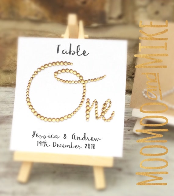 Table numbers | Crystal number table sign comes with small easel to stand on | Wedding signs | Wedding signage