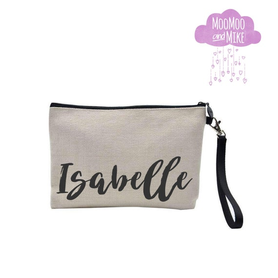 Zip pouch with strap | Add any text | Cosmetic bag | Make up bag | Clutch | Pouch | Wristlet