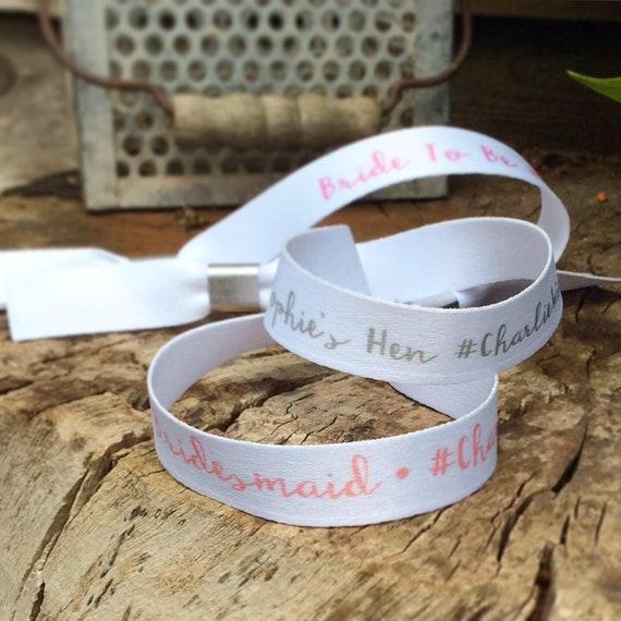 Personalised wristbands | Add any text | Wedding wristbands | Bride Tribe | Hen party wristband | Save the date | Hen favour