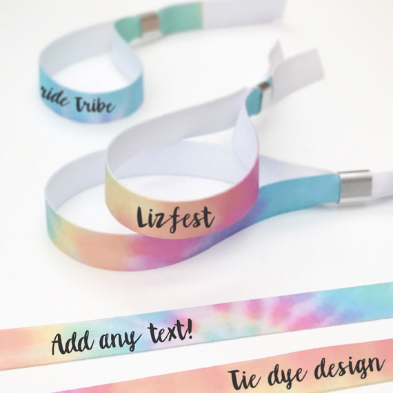 Personalised wristbands | Tie dye design | Add any text | Wedding wristbands  | Team Bride | Hen party wristband | Hen favours