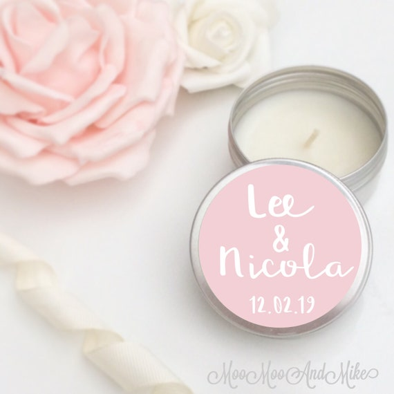 Set of 10 candle personalised Wedding Favours - Soy Favor Candles Personalised Wedding Favour, Tin 50ml. Come with organza bag's