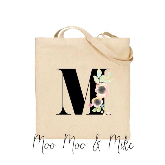 Personalised floral initial tote bags | Wedding tote bags | Gift bags | Bohemian wedding | Tote bags