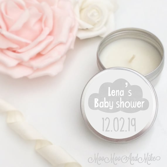Set of 10 personalised candle Baby shower Favours - Soy Favour Candles Personalised Favours Tin 50ml come in organza bags