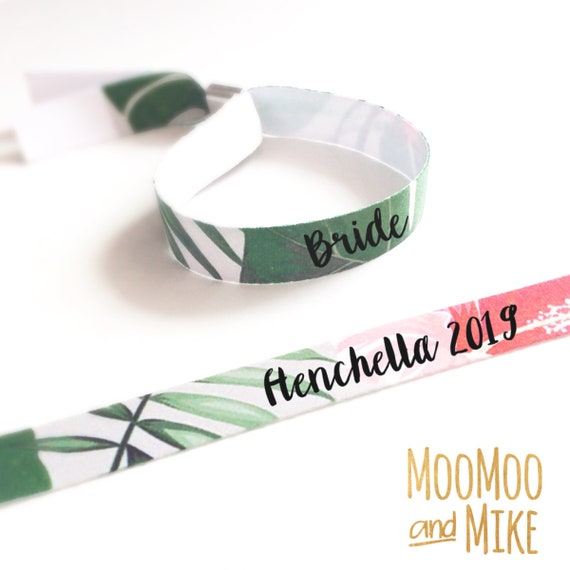 Personalised wristbands | Tropical leaf design | Add any text | Wedding wristbands  | Team Bride | Hen party wristband | Hen favours | Save