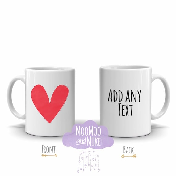 Personalised mug | Add any text | Custom mug | Heart design | Bridesmaid gift | Teacher gifts | Brides mug
