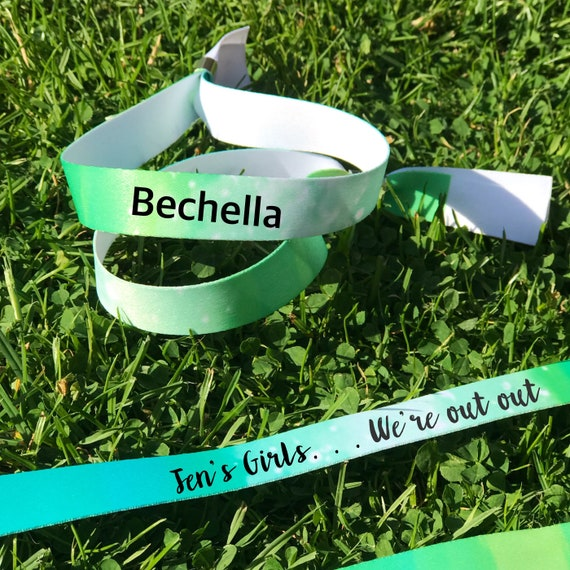 Personalised wristbands | Green design | Add any text | Wedding wristbands  | Festival wristbands | Hen party wristband | Hen favours