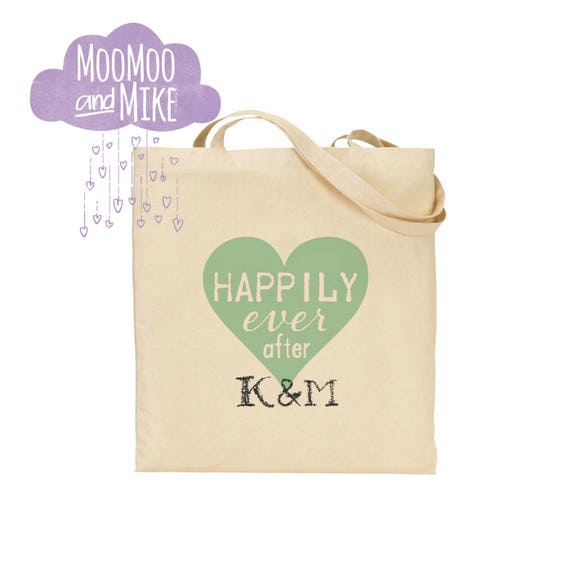 Personalised tote bags | Bride's bag | Wedding | Favours | Hen party | Maid of honour | Gift bags | Bridesmaid | Happily ever after