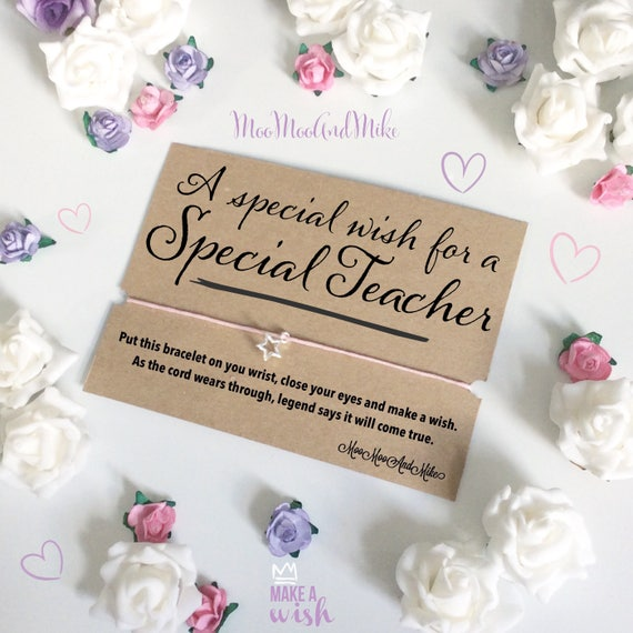 A special wish for a special teacher wish bracelet | Can be personalised | Friendship Bracelet | Wish band | Charm bracelet.