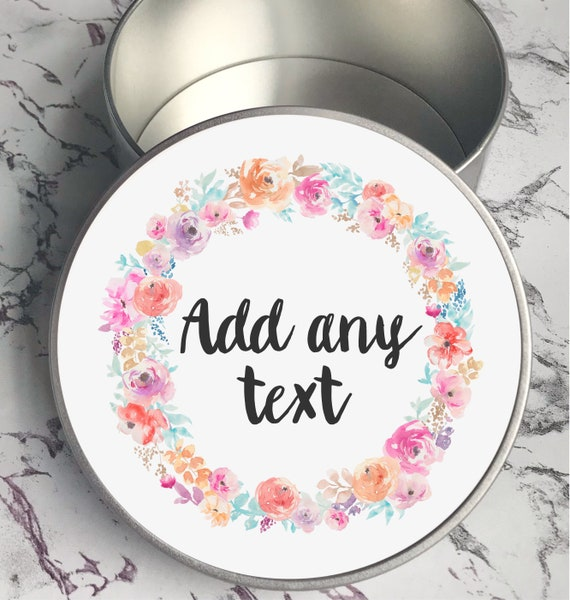 Gift box | Keepsake tin | Round gift box | Add any text | Gift tin | Personalised Box | Bride gifts