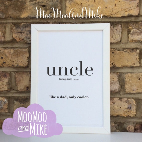 uncle definition print   quote   Wall prints   Wall decor   Home decor   Print only   Typography