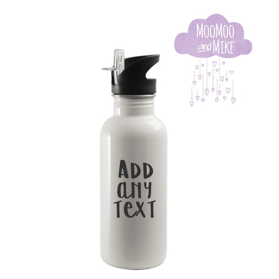 Water bottle with integrated straw top | Add any text | Aluminium 600ml | Personalised water bottle