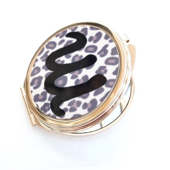 Rose gold Compact Mirror | Add any text | Bridesmaid gifts | Women's Accessories | Pocket Mirror | Made to order | Leopard print design