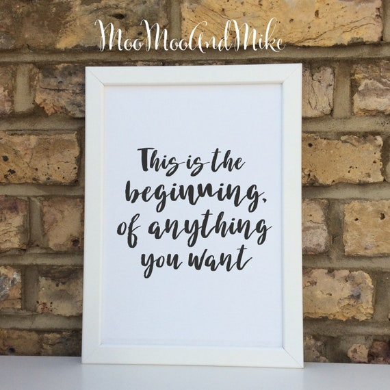 This is the beginning Inspirational quote print | Wall prints | Wall decor | Home decor | Print only | Typography