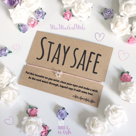 Stay safe | Social distancing gifts | Wish bracelet | Isolation gifts | Can be personalised | Quarantine gift | Wish band | Charm bracelet
