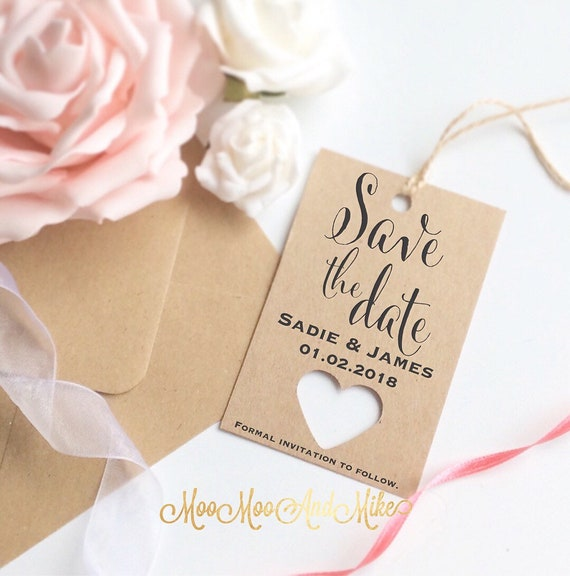 Save the date tags | Set of 10 | Wedding tags | Rustic save the date | Gift tags.
