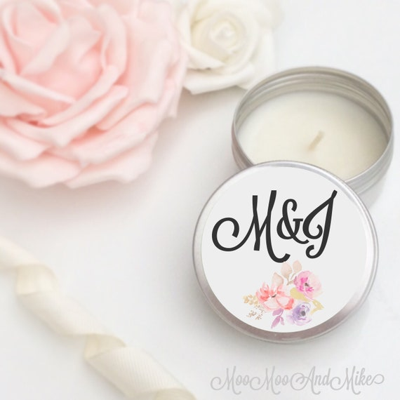 Set of 10 personalised candle Wedding Favours - Soy Favour Candles | Personalised candle Favour. Tin 50ml come with organza bag's