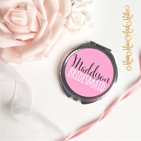 Compact Mirror | Add any text | Bridesmaid gifts | Women's Accessories | Pocket Mirror | Made to order