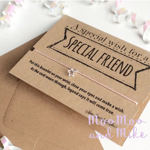 Wish bracelet card | Special friend gift | Greetings card | Friendship Bracelet | Wish band | Charm bracelet.