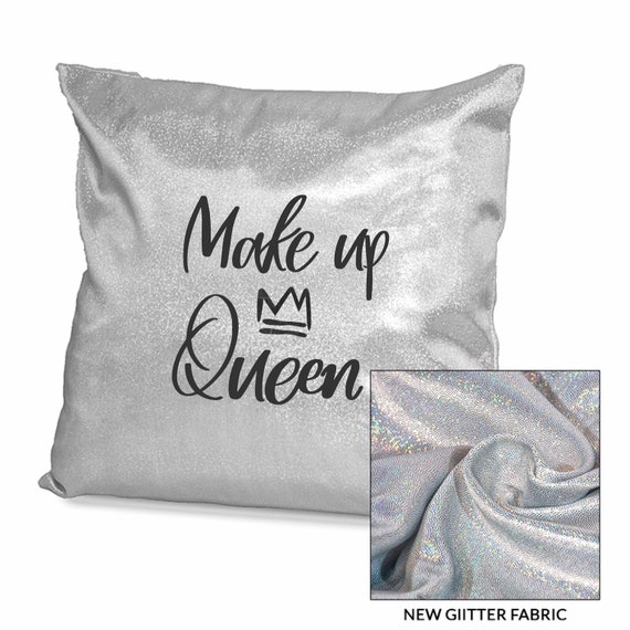 Make up Queen | Sparkling Personalised cushion cover | Pink or Sliver | Glitter cushion | Bedroom decor | Make up gifts