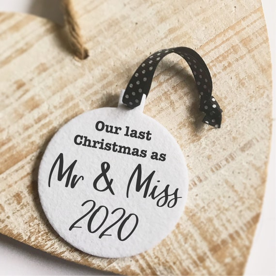 Mr & Miss bauble | Fabric board | Christmas 2020 bauble | Last Christmas as Mr and Miss | Christmas decor | Christmas decorations | baubles