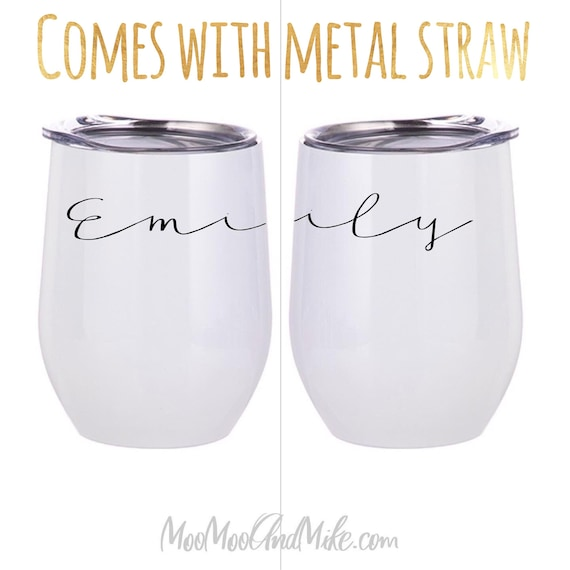 Personalised Wine Tumbler with straw | Bridesmaid Gift Custom Tumbler | Stainless Steel Tumbler | Hen party Wine Tumbler