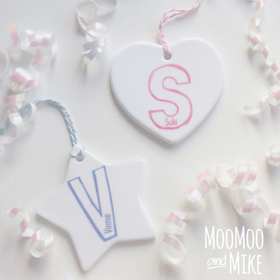 Hanging heart decoration | Hanging star | Add any text | Baby shower gift | Wedding gifts | Teacher gifts.