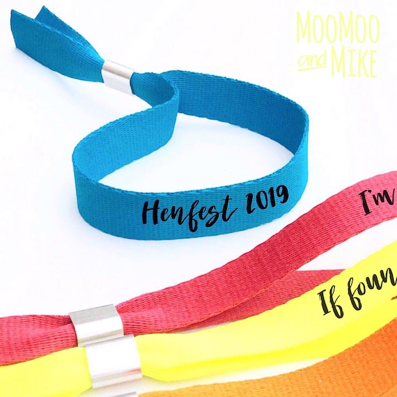 Personalised wristbands | Add any text | Wedding wristbands  | Festival wristbands | Hen party wristband | Hen favours | Hi Viz wristbands