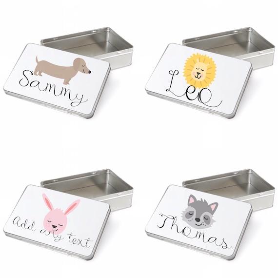 Keepsake tin | choice of shape |Personalised small gift box | Add any text | Animal tin | Sweet tins | Personalised tin