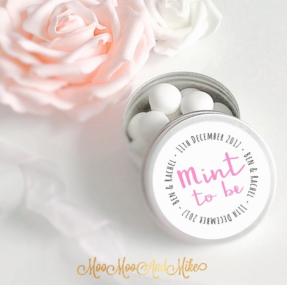 Set of 10 mint Wedding Favours  | Add any text | Personalised Wedding Favor | Tin 50ml | Mint to be.
