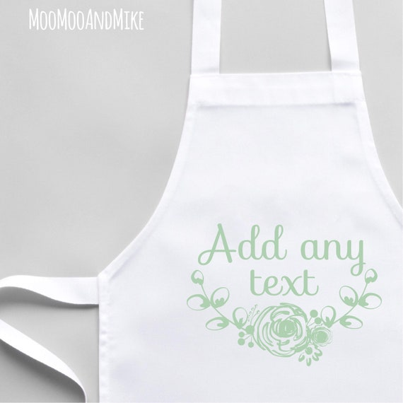 Personalised Apron | Child and Adult size | White Apron | Kitchenware | Custom apron | Cooking gifts | Apron with pocket