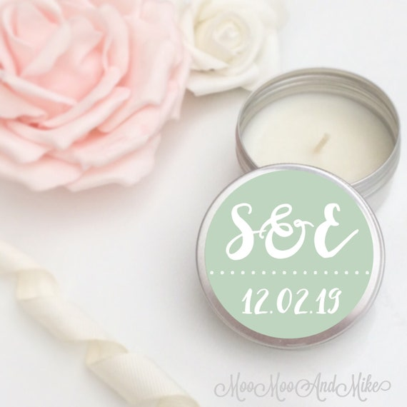 Set of 10 personalised candle Favours - Soy Favour Candles Personalised Favour. Tin 50ml come with organza bags