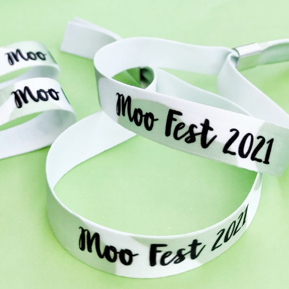 Personalised wristbands   Cow print design   Add any text   Wedding wristbands   Festival wristbands   Favours