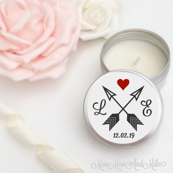 Set of 10 personalised candle Wedding Favours - Soy Favour Candles Personalised Wedding Favour. Tin 50ml travel come with organza bag's