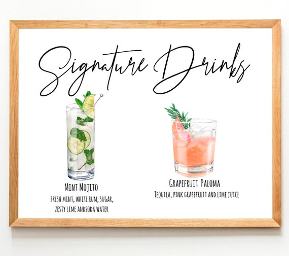 Signature Cocktail print   Cocktail Sign   His and Hers Drinks Wedding Bar Sign   Wedding Cocktails