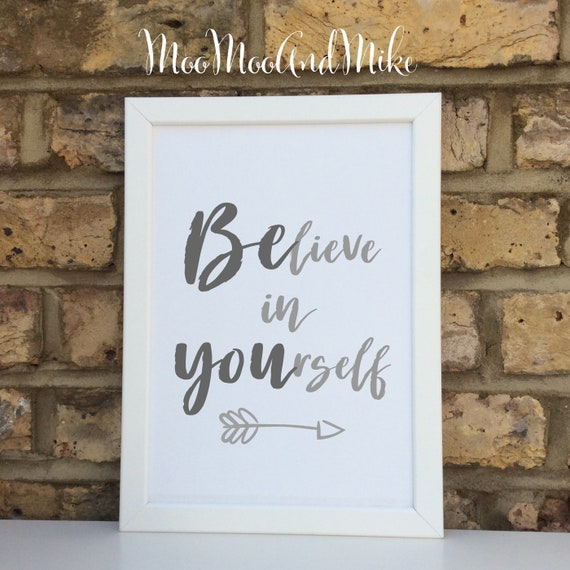 Believe in yourself inspirational print | Wall prints | Wall decor | Home decor | Print only