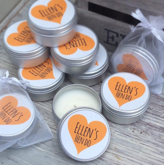 Set of 10 candle personalised hen party favours - Soy Favour Candles Personalised Wedding Favour. Tin 50ml with organza bag's