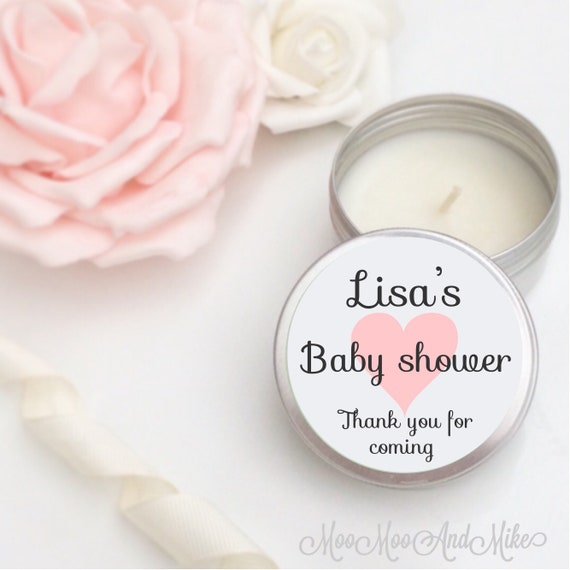 Set of 10 candle personalised baby shower Favours - Soy Candle favours. Personalised baby shower gifts. Tin 50ml with organza gift bags