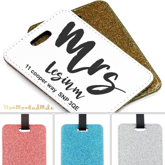 Luggage tag | Personalised Glitter Luggage Tag | Adventure awaits | Add any text | Wedding gifts | Travel Accessories | Personalised tags