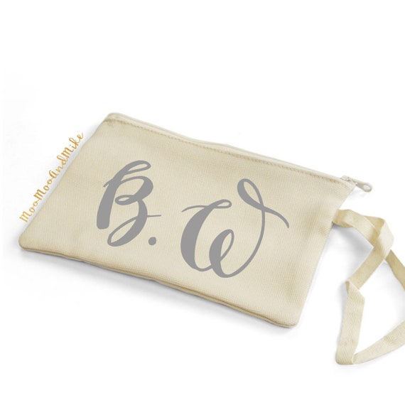 Zip pouch with strap | Add any text | Make up bag | Clutch | Pouch | Wristlet