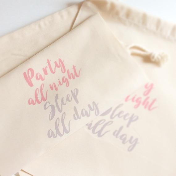 Party all night sleep all day gift bag | Drawstring bag | Hen party bags | Hangover kit bag | Wedding gift bags