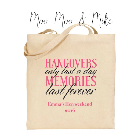 Hen tote bag | Wedding bag | Hen party | Personalised tote bag | Gift bags | Hen party bags | hangover quote | Team bride.