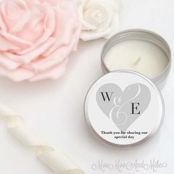 Set of 10 personalised candle Wedding Favours - Soy Favour Candles Personalised Wedding Favour. Tin 50ml with organza bags.