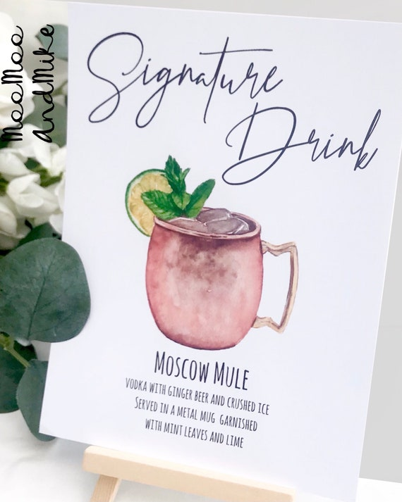 Drink sign comes with small easel, Signature Cocktail Sign Cocktail Sign, His and Hers Drinks Wedding Bar Sign, Wedding Cocktails