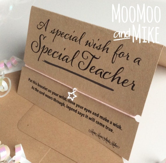 Teacher greetings card with wish bracelet | Teacher card | Friendship Bracelet | Charm bracelet.